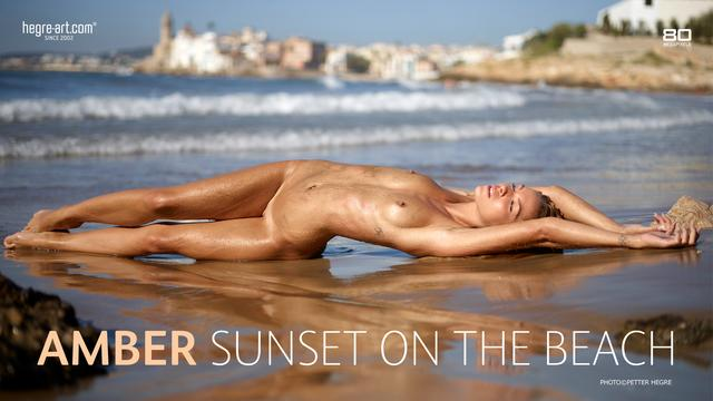Amber sunset on the beach