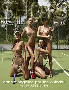 Anna S., Angelica, Paulina y Linda L. desnudo Wimbledon