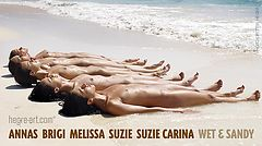 Anna S Brigi Melissa Suzie Suzie Carina wet and sandy