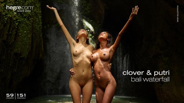 Clover und Putri Bali Wasserfall