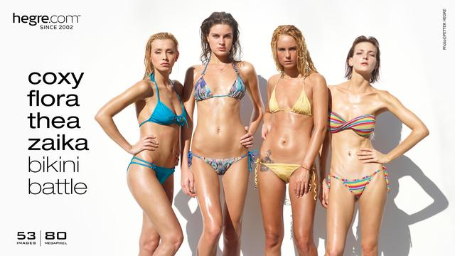 Coxy Flora Thea Zaika bikini battle