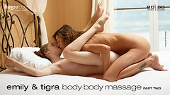 Emily and Tigra body body massage part 2