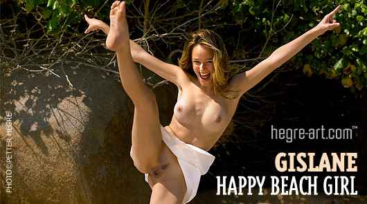 Gislane feliz chica de playa