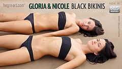 Gloria and Nicole black bikinis