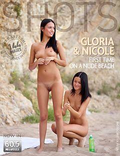 Gloria er Nicole première fois sur une plage nudiste