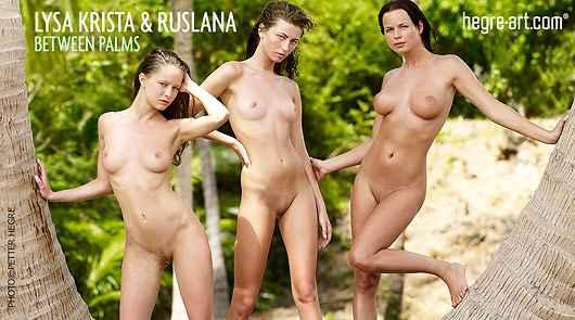 Lysa Krista und Ruslana zwischen den Palmen