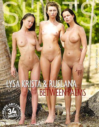 Lysa Krista and Ruslana between palms