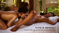 Nuna and Serena L cunnilingus and cucumber