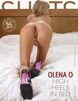 Olena O high heels in bed