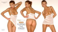 Vika flipping the finger
