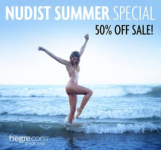 Nudist Summer Sale: 50% OFF on all hegre.com memberships